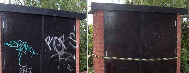 graffitirens af dør før og efter